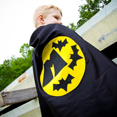 Pip and Bean Black and Yellow Bat Cape with Personalized Letter