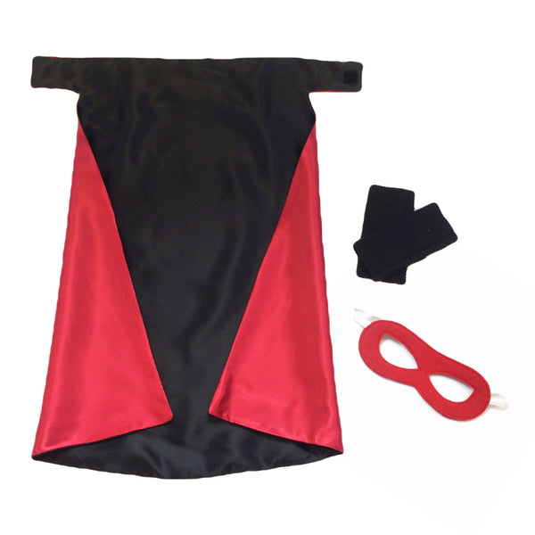Black and Red Superhero Cape Set