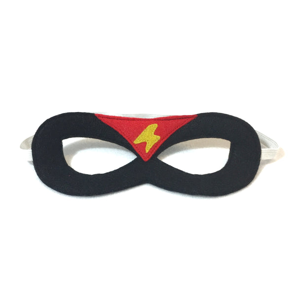 Black Superhero Mask with Red Triangle and Yellow Lightning Bolt