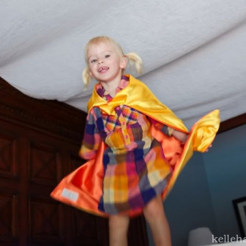 Pip and Bean Yellow and Orange Plain Superhero Cape - Reversible