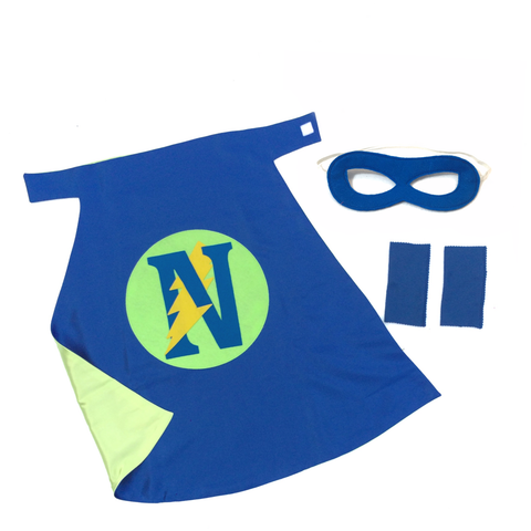 Pip and Bean Basic Personalized Superhero Set Blue and Lime Green