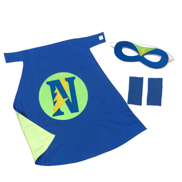 Blue and Lime Green Personalized Superhero Set