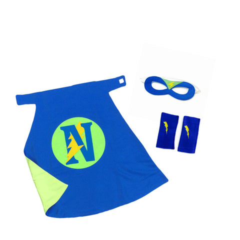 Pip and Bean Premium Personalized Superhero Set  Blue and Lime Green