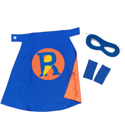 Pip and Bean Basic Personalized Superhero Set Blue and Orange