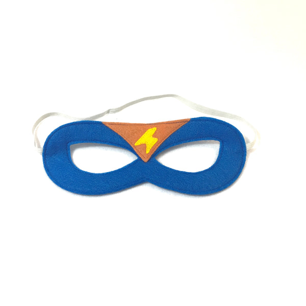 Blue and Orange Superhero Mask with Lightning Bolt