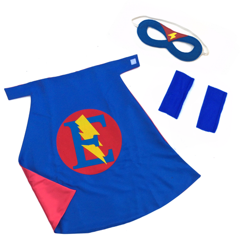 Blue and Red Personalized Superhero Set - Cape, Mask and Armband