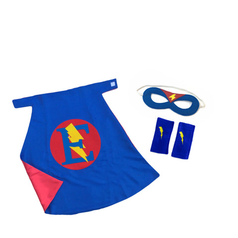 Pip and Bean Premium Personalized Superhero Set - Cape, Mask and Armband