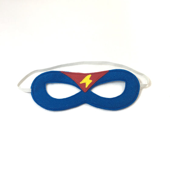 Blue Superhero Mask with Red Triangle and Yellow Lightning Bolt