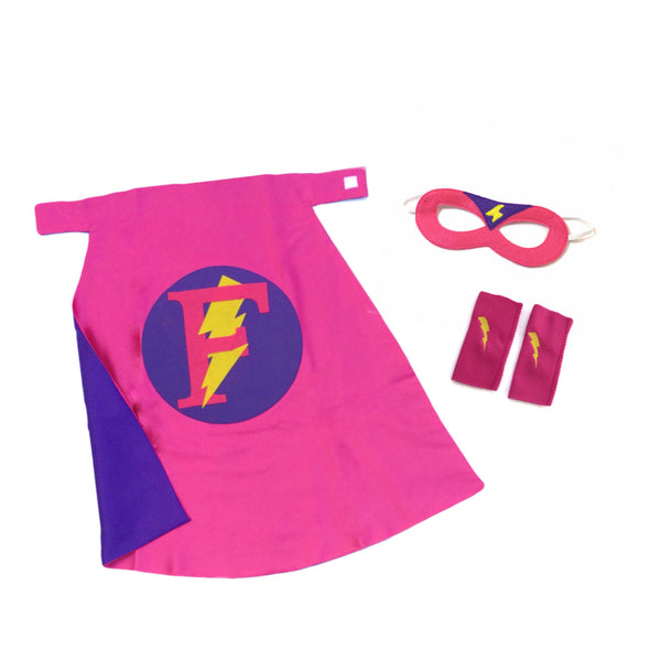 Premium Personalized Superhero Set Hot Pink and Purple