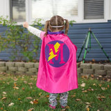 Hot Pink and Purple Personalized Superhero Cape with Lightning Bolt