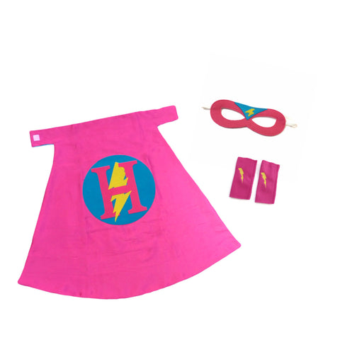 Pip and Bean Premium Personalized Superhero Set Hot Pink and Turquoise