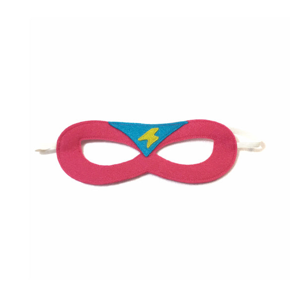 Hot Pink and Turquoise Superhero Mask with Lightning Bolt