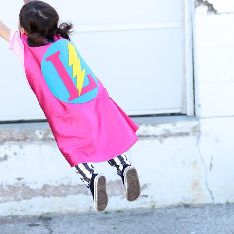 Pip and Bean Hot Pink and Turquoise Personalized Superhero Cape