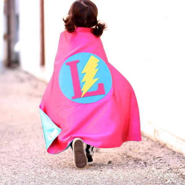 Hot Pink and Turquoise Personalized Superhero Cape