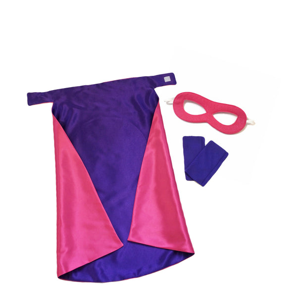 Hot Pink and Purple Superhero Cape Set