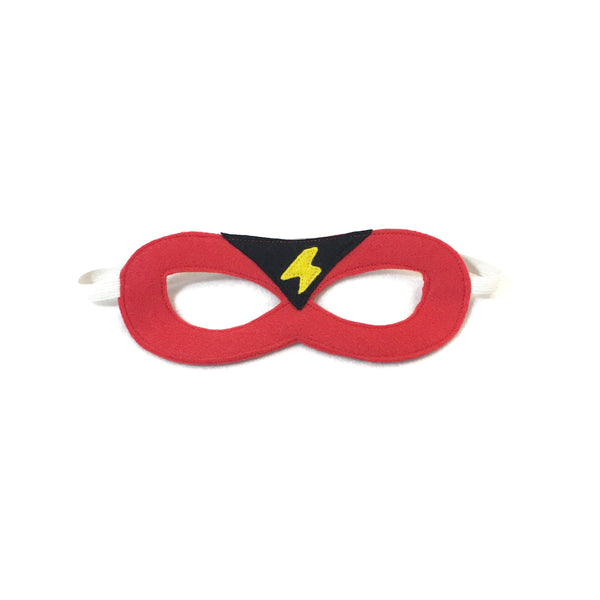 Red Superhero Mask with Black Triangle and Yellow Lightning Bolt