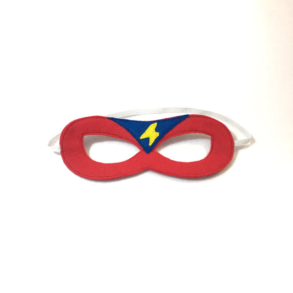 Red Superhero Mask with Blue Triangle and Yellow Lightning Bolt