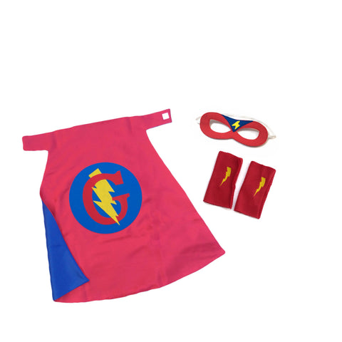 Pip and Bean Premium Personalized Superhero Cape Set Red ad Blue