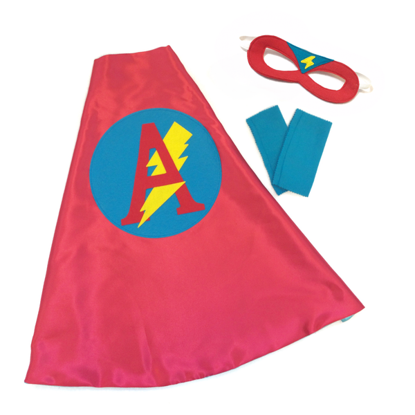 Red and Turquoise Personalized Superhero Cape Set