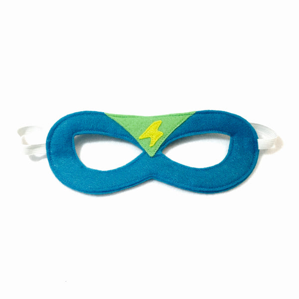 Turquoise and Lime Superhero Mask with Lightning Bolt