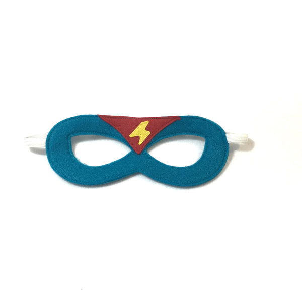 TURQUOISE and RED Superhero MASK with lightening bolt