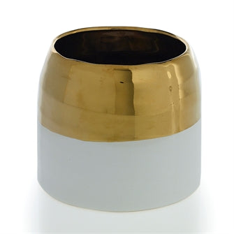 White with Gold Rimmed Vase