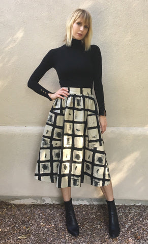 *** SALE $10 OFF *** Lisa HIgh Waisted Big Pocket Midi Skirt- Woodblock