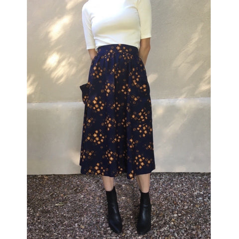 Lisa HIgh Waisted Big Pocket Midi Skirt- Copper Flowers