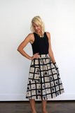 Lisa High Waisted Big Pocket Midi Skirt- Woodblock