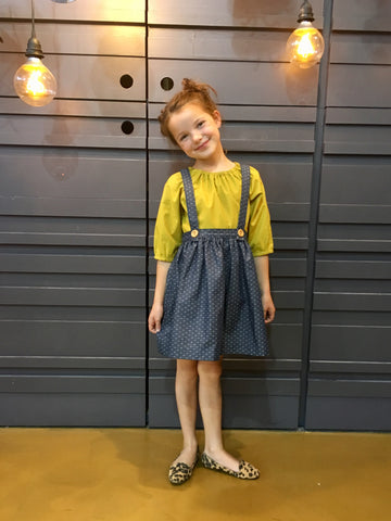 The Andi MINI Trouser Skirt NOW With Detachable Suspenders- Dark Chambray Dot