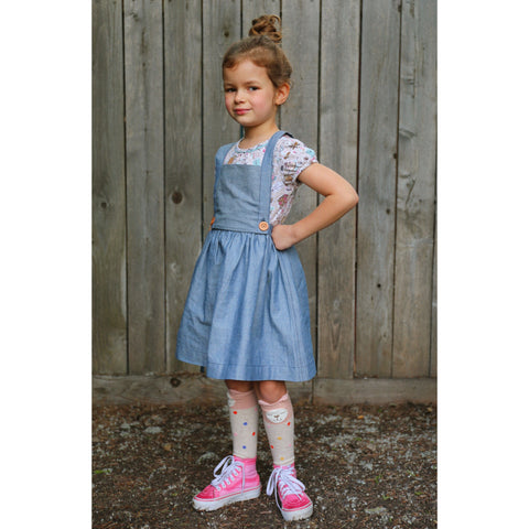 The Clara Removable Bib Skirt With Detachable Susupenders- Light Denim Chambray