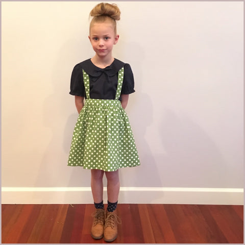 The Andi MINI Trouser Skirt- Green Polka Dot