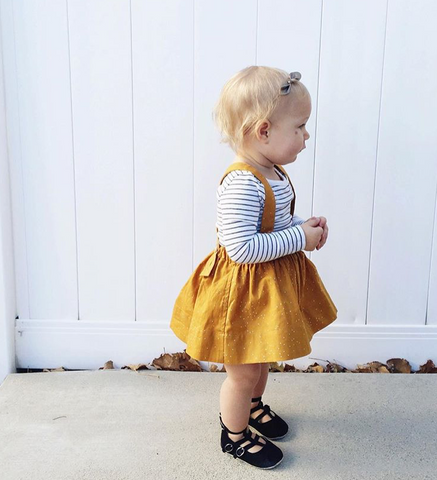 The Andi MINI Trouser Skirt- Dark Mustard Dots