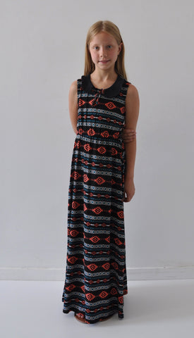 *** ON SALE *** The Penny Peter Pan Collar Mini Maxi- Black Aztec