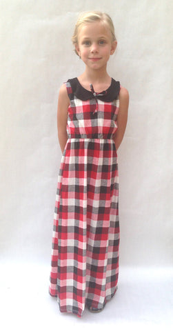 *** ON SALE *** The Penny Peter Pan Collar Mini Maxi - Black & Red Buffalo Plaid