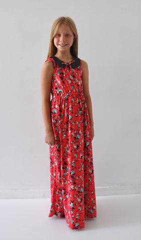 *** ON SALE *** The Penny Peter Pan Collar Mini Maxi- Red Floral