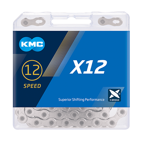 12-Speed X12 Silver / Silver Chain | 126 Links | Boxed by: KMC