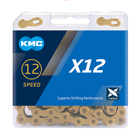 12-Speed X12 Ti-N(Gold) Chain | 126 Links | Boxed by: KMC