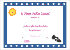Lottie 11 Times Tables Printable Award Certificate