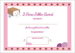2 times tables printable award certificate lottie