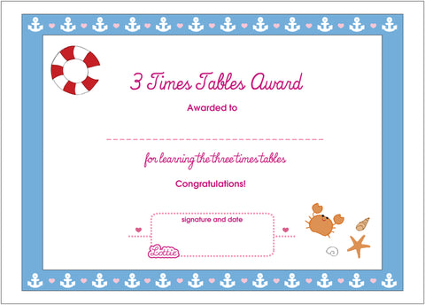 3 Times Tables Printable Award Certificate – Lottie Dolls