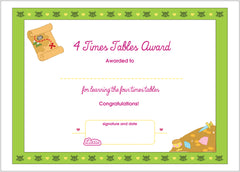 Lottie 4 Times Tables Printable Award Certificate