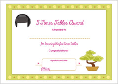 Lottie 5 Times Tables Printable Award Certificate