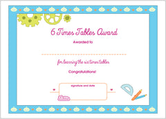 Lottie 6 Times Tables Printable Award Certificate