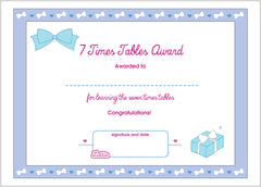 Lottie 7 Times Tables Printable Award Certificate
