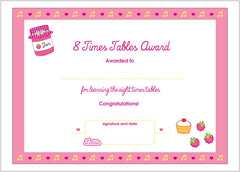 Lottie 8 Times Tables Printable Award Certificate