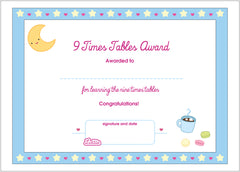Lottie 9 Times Tables Printable Award Certificate