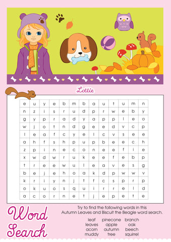 Autumn Leaves Lottie printable wordsearch