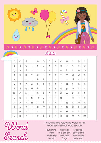 Branksea Festival Lottie printable word search
