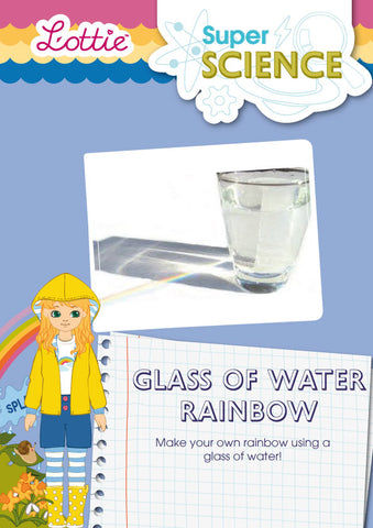 Glass of water rainbow activity for kids